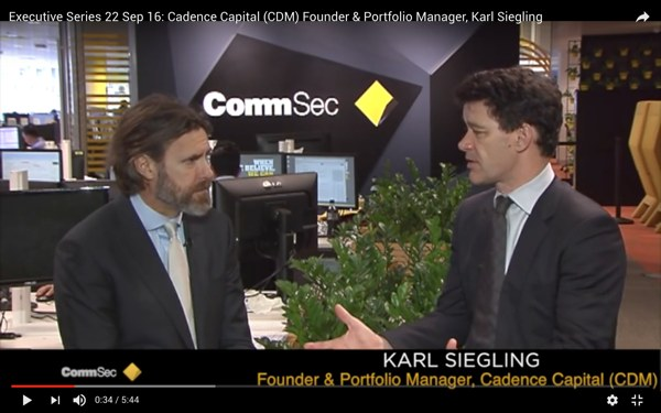CommSec Executive Series Interviews Karl Siegling