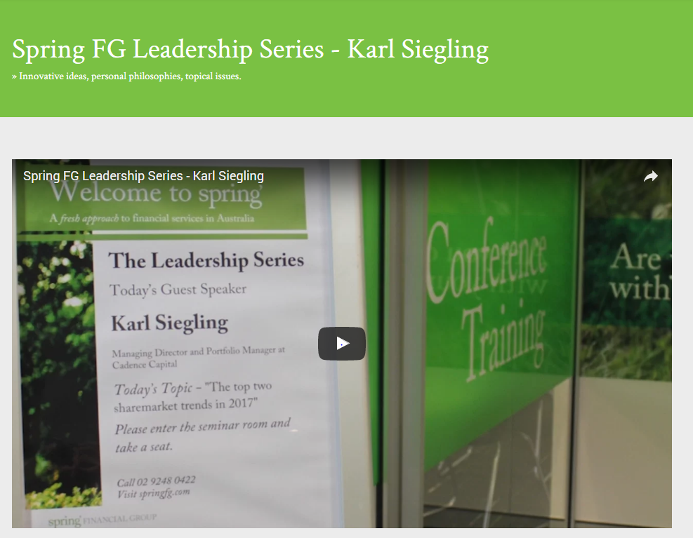 Spring Financial Group Leadership Series with Karl Siegling, Cadence Capital